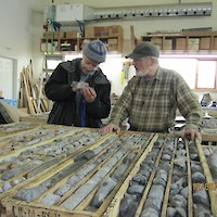 Logging core in the shop near the project